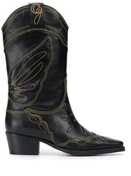Ganni Embroidered Cowboy Boots Black