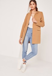 Missguided Short Tailored Wool Coat Camel Beige