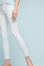 Anthropologie Ag Abbey Sateen Mid Rise Skinny Ankle Jeans White