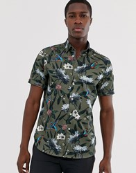Ted Baker Short Sleeve Shirt In Khaki With Kingfisher Print Green