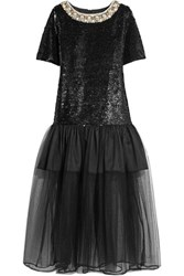 Ashish Embellished Cotton And Tulle Midi Dress Black