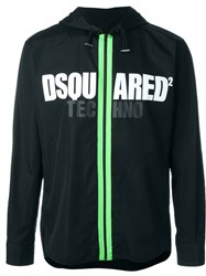 Dsquared2 Logo Zipped Up Hoodie Black