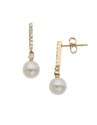 Lord And Taylor 14Kt. Yellow Gold Fresh Water Pearl And Diamond Drop Earrings