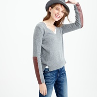 J.Crew V Neck Sweater With Leather Panels