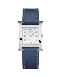 Hermes Heure H Watch With Malta Blue Leather Strap