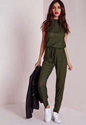 Missguided Roll Neck Skinny Rib Jumpsuit Khaki Beige