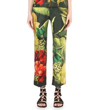 F.R.S. For Restless Sleepers Cropped Tropical Print Silk Trousers Pink