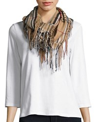 Lord And Taylor Plaid Fringe Loop Scarf Camel