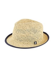Block Headwear Suede Tipped Open Weave Straw Trilby Natural