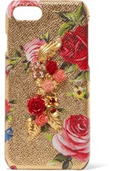 Dolce And Gabbana Embellished Metallic Textured Leather Iphone 7 Case Gold