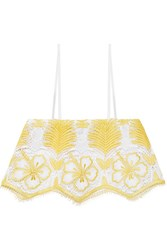 Miguelina Chandler Cropped Crocheted Cotton Top Marigold