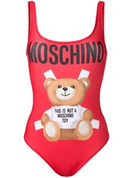 Moschino Teddy Bear Swimsuit Red