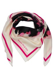 Alexander Mcqueen Floral Printed Silk Twill Scarf Ivory