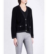 The Kooples V Neck Wool And Cashmere Blend Cardigan Bla01