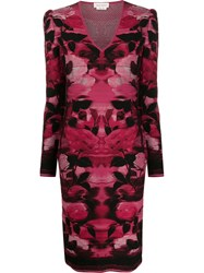 Alexander Mcqueen Blurred Rose Jacquard Fitted Dress 60