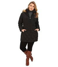 Jessica Simpson Plus Size Quilted Down With Faux Fur Trimmed Hood Black Women's Clothing