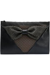 Red V Bow Embellished Paneled Mesh And Leather Clutch Black