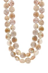Freshwater Coin Pearl Endless Necklace White