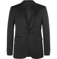 Burberry Black Slim Fit Faille Trimmed Cotton Blend Tuxedo Jacket Black