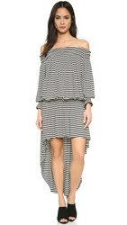 Norma Kamali Peasant High Low Dress Black White