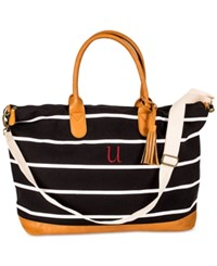 Cathy's Concepts Personalized Black Striped Canvas Oversized Weekender Tote U