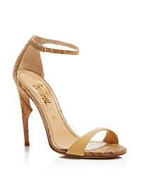 Jerome C. Rousseau Malibu Cork Ankle Strap High Heel Sandals Natural Bone