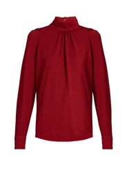Golden Goose Marian High Neck Crepe Blouse Red
