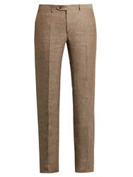 Brioni Straight Leg Linen Trousers Brown Multi