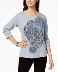 Style And Co Long Sleeve Metallic Graphic Sweatshirt Created For Macy's Medallion Trio