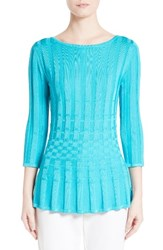 St. John Women's Collection Checkered Knit Top