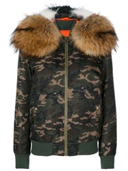 Mr And Mrs Italy Camouflage Hooded Bomber Jacket Women Cotton Polyamide Polyester Racoon Fur M Green