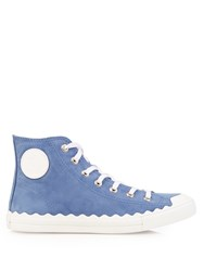 Chloe Kyle High Top Leather Trainers Light Blue