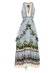 Erdem Nerissa Field Flower Print Midi Dress Green Multi
