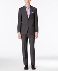 Calvin Klein Men's Extra Slim Fit Charcoal Shadow Grid Suit
