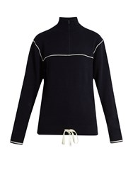 Chloe Half Zip Cashmere Sweater Navy White