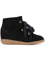 Isabel Marant Bobby Wedge Sneakers Women Leather Calf Suede Rubber 35 Black