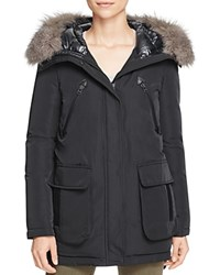 Derek Lam 10 Crosby Fur Trim Mixed Media Down Parka Black