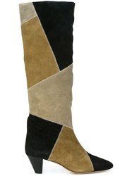 Isabel Marant 'Ross' Patchwork Boots Nude And Neutrals