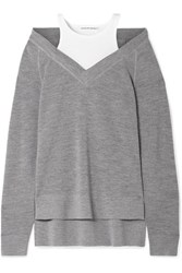 Alexander Wang T By Layered Wool And Stretch Cotton Jersey Sweater Gray