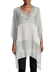 Saks Fifth Avenue Solid Woven Poncho Top Light Grey