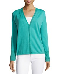 Lafayette 148 New York Cotton Blend V Neck Cardigan Aquarium