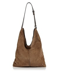 Halston Heritage Tina North South Suede Shoulder Bag Grey