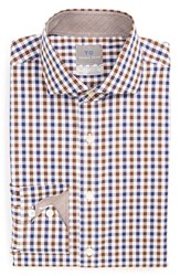 Men's Big And Tall Thomas Dean Regular Fit Non Iron Check Dress Shirt Brown
