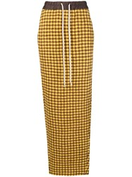 Rick Owens Gingham Check Pencil Skirt Yellow And Orange