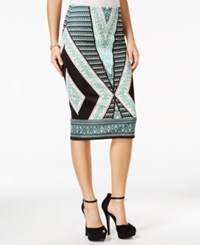 Amy Byer Bcx Juniors' Printed Scuba Pencil Skirt Mint Multi