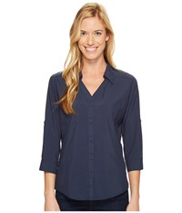 Royal Robbins Expedition Chill Stretch 3 4 Sleeve Top Navy Women's Long Sleeve Button Up