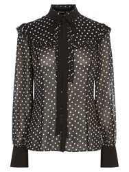 Karen Millen Polka Dot Blouse Black White
