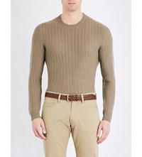 Ralph Lauren Purple Label Cable Knit Cashmere Jumper Dusty Sage