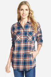 Sandra Ingrish Plaid Cotton Flannel Boyfriend Shirt Multi