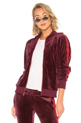 Pam And Gela X Revolve Collared Velour Track Jacket Wine
